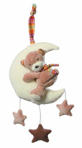Fehn 160185 Spieluhr Teddy im Mond / Aufzieh-Spieluhr mit waschbarem Spielwerk - Spielt sanfte Einschlafmelodie für Babys und Kleinkinder ab 0+ Monaten