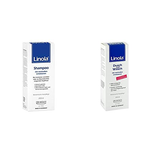 Linola Shampoo 200 ml - für trockene, empfindliche oder zu Neurodermitis neigende Kopfhaut & Reinigung, 1er Pack (1 x 300 ml)