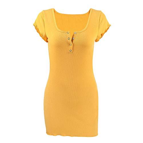 Vestido de cadera para mujer, NDGDA Sexy Botón Color Sólido Bodycon cuello en V vestido de fiesta de noche