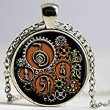 Huang Glass art Halskette mit Anhänger Reiki Symbole im Steampunk Design Glasfoto-Cabochon