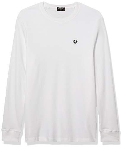 True Religion Herren Long Sleeve Thermal Crewneck Shirt Hemd, Optic White, XX-Large