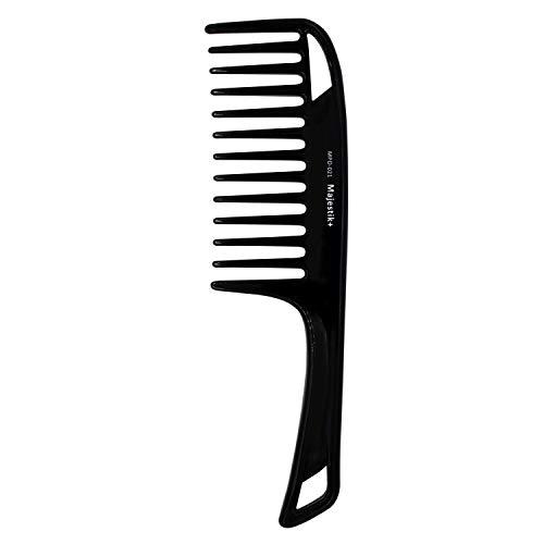 Haarkamm mit breiter Zähne, mit Arganöl angereichert, mit bequemem Handgriff, Entwirrungskamm für dickes, lockiges mittellanges bis langes Haar, Schwarz