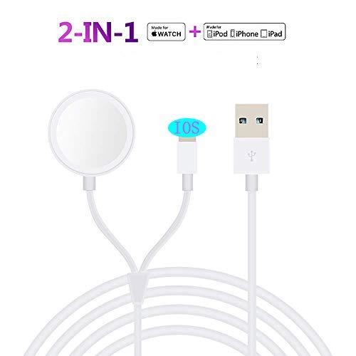MASOMRUN 2 in 1 Apple Watch Caricabatterie, Caricatore Wireless per Apple Watch Series 5/4/3/2/1, Cavo di Ricarica Portatile per Phone 11/11 Pro/11 PRO Max/XS/XS Max/XR/X/8/8 Plus/7/7+/6s/6/5c- 3.3 Ft