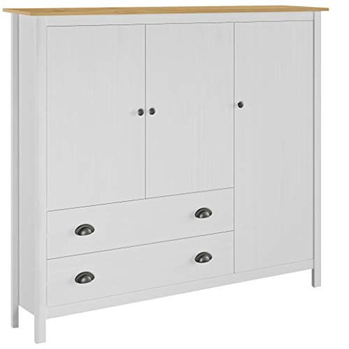 Cikonielf - Armario de salón con 3 puertas, 2 cajones y 5 estantes, armario de almacenamiento, almacenamiento, color blanco y marrón, miel 142 x 45 x 137 cm, madera de pino maciza
