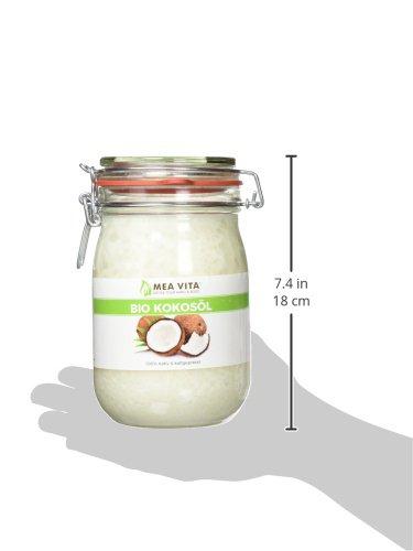 MeaVita Bio Kokosöl, nativ, DE-ÖKO-037, 1er Pack (1 x 1000 ml) im Drahtbügelglas - 9