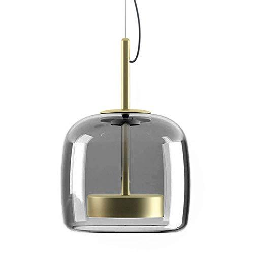 MZStech Nouveau Design Moderne Luminaire Suspension, d'or Métal Et GrisAbat-jour en verre Lumière suspendue, Perles de lampe à LED Lustre (Gris, B)…