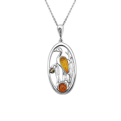 Kiara Jewellery 925 Sterling Silver Heron Bird Pendant Necklace Inset With Mixed Baltic Amber on 18' Sterling Silver Trace Chain.
