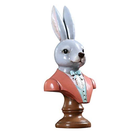 zyl Estado de la Cabeza de Conejo Vintage con Base Resina Decorativa Conejo de Dibujos Animados Escultura de Animales Centro de Mesa para la Fiesta de Pascua Decoración de Mesa Regalo Foto Prop