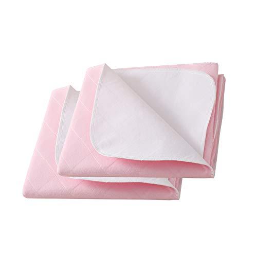 Beedsooth 2er Set Atmungsaktive wasserdichte Saugvlies Matratzenauflage Inkontinenzauflage, Weichheit Waschbare Unterlage für Kinder oder Erwachsene - 86x132cm, Rosa