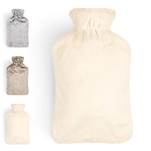 Blumtal Wärmflasche mit weichem Bezug - 1,8L Wärmeflasche, Bettflasche, Wärmflasche Kinder, weiß