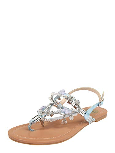 Buffalo Damen Sandalen Jilly, Frauen Riemchensandalen, Women's Women Woman Freizeit leger Sandalette sommerschuh bequem,Light Blue,40 EU / 6.5 UK
