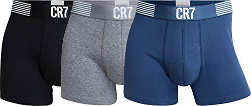 CR7 Cristiano Ronaldo Boxershorts für Herren aus ökologischer Baumwolle, enganliegende Unterhose, angenehmes Tragegefühl im 3er Pack, schwarz, grau, blau, XL