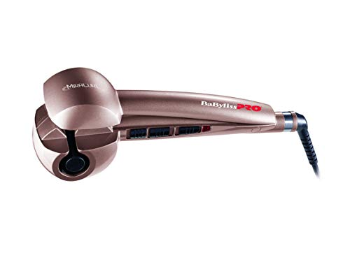 BaByliss Pro Miracurl Rose Gold - Rizador de pelo profesional 100% automático, 190°C-210°C-230°C, 3 tiempos de marcado para hacer ondas y rizos, selector de la dirección para hacer diferentes peinados