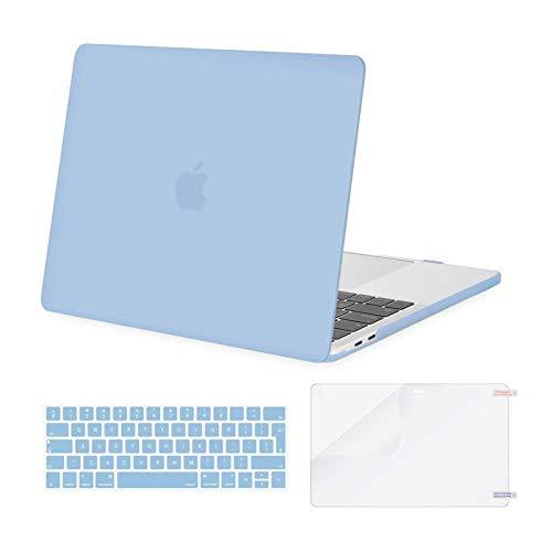 MOSISO Funda Dura Compatible con MacBook Pro 13 Pulgadas 2020-2016 A2338 M1 A2289 A2251 A2159 A1989 A1706 A1708, Carcasa Plástico&Cubierta de Teclado&Pantalla Protector,Azul Aireado