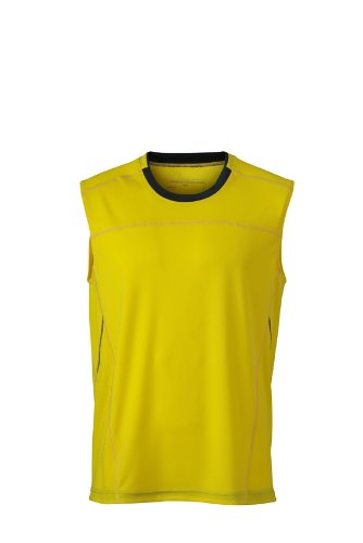 JAMES & NICHOLSON Shirt Mens Running Tank, Jaune (Lemon/Iron Grey), (Taille Fabricant: X-Large) Homme