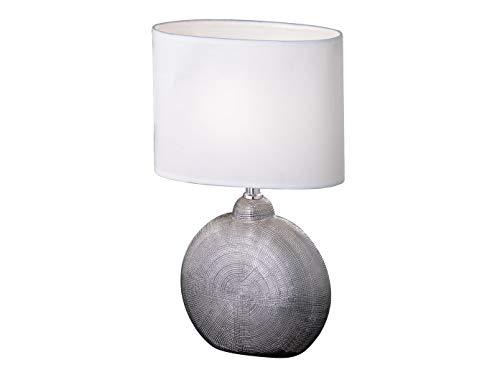 Kleine LED Tischleuchte Nachttischlampe 36cm mit Keramikfuß Silberfarben & ovalem Stoff Lampenschirm Weiß