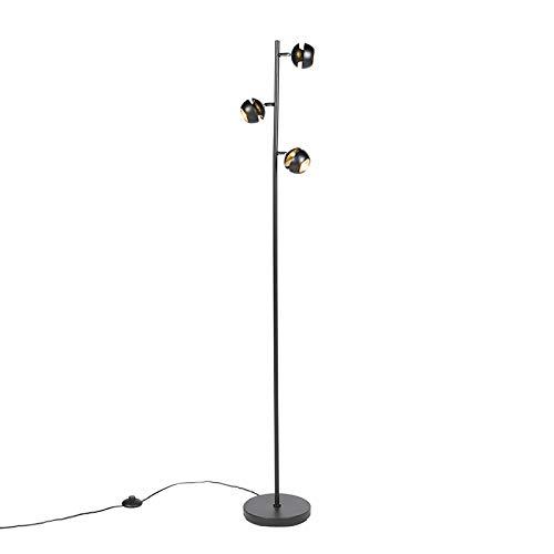 Preisvergleich Produktbild QAZQA Modern Moderne Stehleuchte / Stehlampe / Standleuchte / Lampe / Leuchte 3-Flammig schwarz mit Gold / Messingener Innenseite - Buell Deluxe / Innenbeleuchtung / Wohnzimmerlampe Stahl Kugel / Kuge