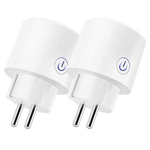 Presa Intelligente WiFi Smart Plug Spina 16A, InThoor Monitor Energetico Mini Smart Plug Timer Funzione, Compatibile Con Alexa/Google Home/IFTTT, Presa Wireless per iOS Android App (2 PACK)