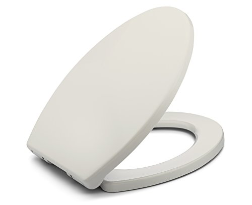 BATH ROYALE BR237-01 MasterSuite Elongated Toilet Seat with Cover, Biscuit/Linen – Slow Close, Easy Clean, Replacement Toilet Seat Fits All Toilet Brands including Kohler, Toto and American Standard