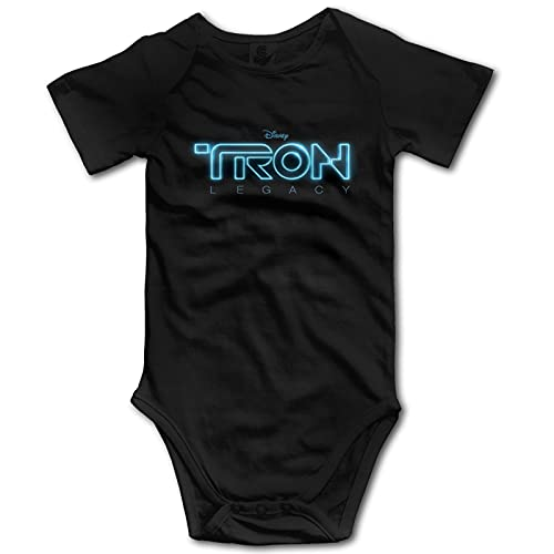 D-AFT P-UNK - Tron Legacy Unisex Baby Boy and Girl Funny Short Sleeve Baby Onesies Soft Cotton Coveralls Bodysuit 6 Months Black