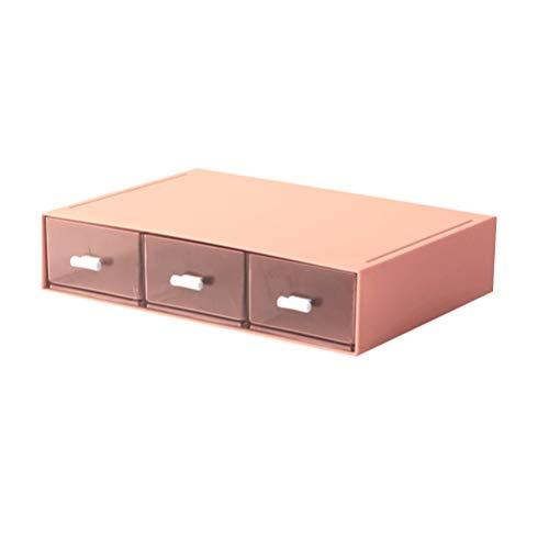 TOYANDONA Tiroirs Style Boîte de Rangement Compartiments Multiples Organisateur pour Rouge à Lèvres Pinceaux de Maquillage Bijoux (Rose)