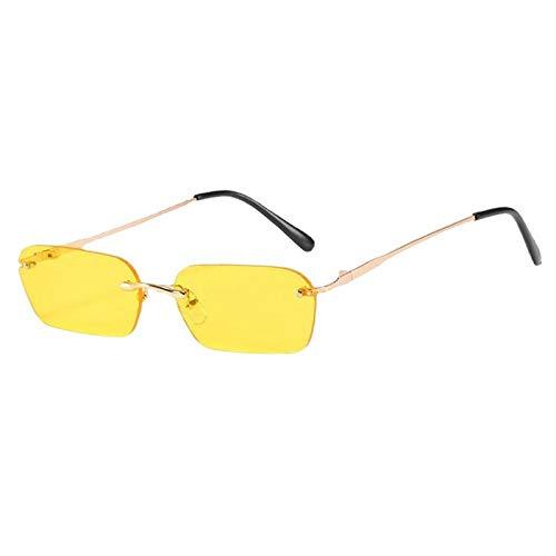 HYwang Gafas De Sol Pequeñas Con Montura Metálica Para Hombres Y Mujeres, Gafas Cuadradas Sin Montura Con Personalidad, Protección Uv