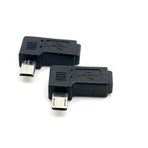 KRS - 8L - 90° Adapter Winkel Stecker von Micro USB auf Micro USB gewinkelt lang Micro USB Langer Stecker, 2 Stück 1x rechts / 1x Links (8L)