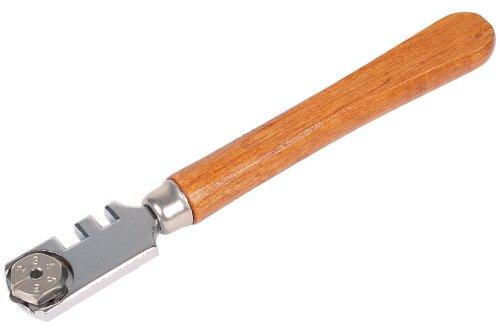 Wolfcraft 4109000 (L) cortador Standard, con mango de madera y 6 ruedas de corte de recambio en CT para cortar, cerámica, azulejos para vidrio de 3-8 mm de espesor PACK 1, naranja