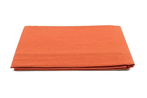 HomeLife - Colcha de matrimonio primaveral de verano [260 x 260] Made in Italy   Colcha para cama de matrimonio de algodón Jacquard Titnta liso   Sábana colcha matrimonial ligera   2P naranja