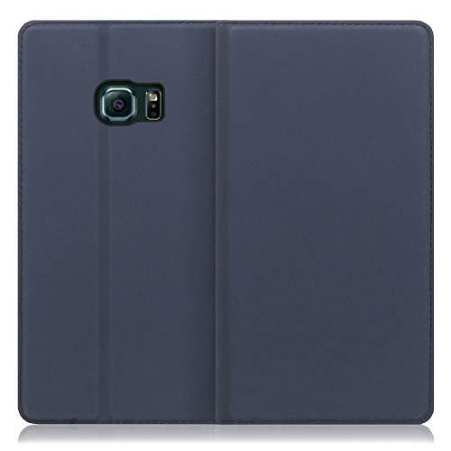 LOOF SKIN Slim Galaxy S6 edge/SC-04G / SCV31 ケース 手帳型 カバー 極薄 ベルト無し カード収納 カードポケット 薄い 軽い スタンド機能 手帳型ケース スマホケース シンプル 手帳型カバー (ネイビー)