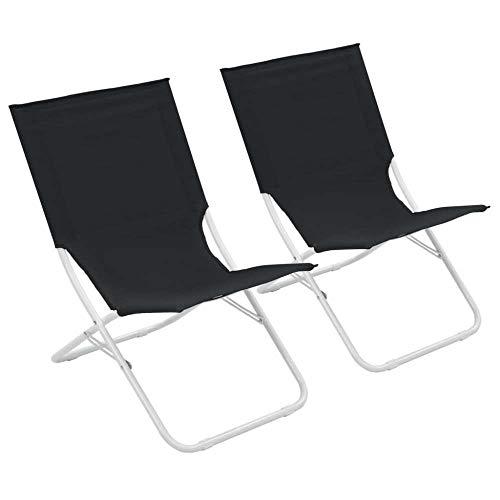 ALL-JingHong Sonnenliege verstellbar Wellnessliege Klappbare Strandstühle 2 Stück erhältlich Schwarz JH-360