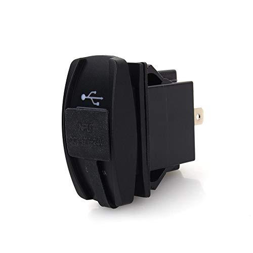 Motorrad USB Ladegerät, Auto DC 12V-24V Blaue LED Dual USB Ladegerät Carling ARB Wippschalter 5V 3.1A