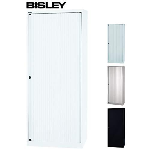 Bisley rolluikenkast met slot, metalen kast, rolluiken van kunststof, afsluitbaar, incl. 4 legplanken, in 3 kleuren wit