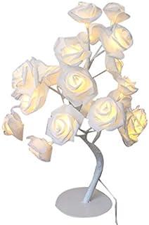 Mifive LED Flor Rosa Blanca Mesita de Noche Dormitorio LáMpara de Mesa de Luz Nocturna DecoracióN Del Hogar áRbol de SimulacióN Fiesta de Bodas de Navidad (Enchufe de la UE)