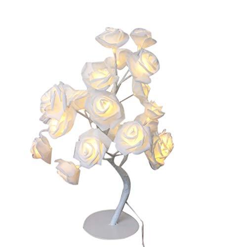 Fltaheroo LED Flor Rosa Blanca Mesita de Noche Dormitorio LáMpara de Mesa de Luz Nocturna DecoracióN Del Hogar áRbol de SimulacióN Fiesta de Bodas de Navidad (Enchufe de la UE)