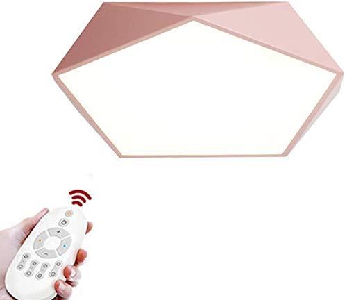 IUHUA Lámpara de Techo LED Lámpara de Techo Moderna Diseño Redondo Simple de Metal y acrílico Sala Comedor Dormitorio Regulable Infinitamente Rosa