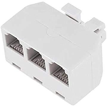 Adapter, RJ-11 Splitter 6P4C Triple LINE 1 / LINE 2 / LINE 3, White - 1 (ONE) Pack