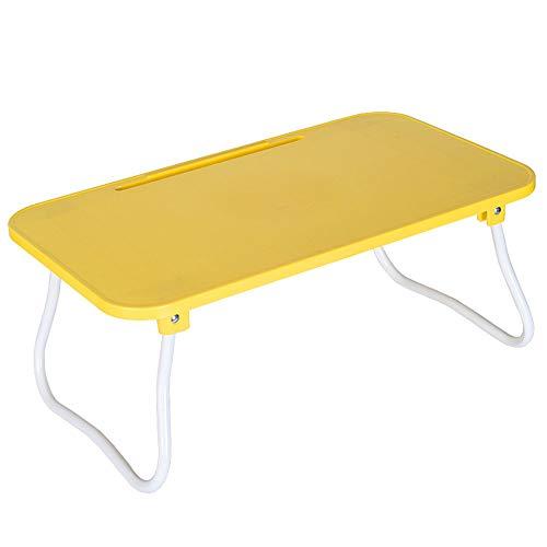 Bed Laptop Tafel, opvouwbare Plastic Lazy tafel, met opvouwbare U-vormige poten en de kaartgleuf, voor die Ontbijt Kijken Movie,Yellow