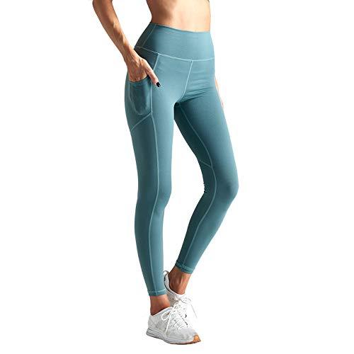 Nouveau Nylon Taille Haute Hanches et Leggings Leggings Pantalon de Sport Collants de Sport Leggings Pantalon de Sport Couture Poche Mince Yoga Leggings Pantalon de Sport Femmes - Vert - S