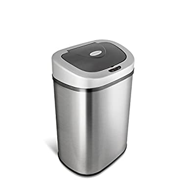 NINESTARS DZT-80-4 Automatic Touchless Infrared Motion Sensor Trash Can, 21 Gal 80L, Stainless Steel Base (Oval, Silver/Black Lid)