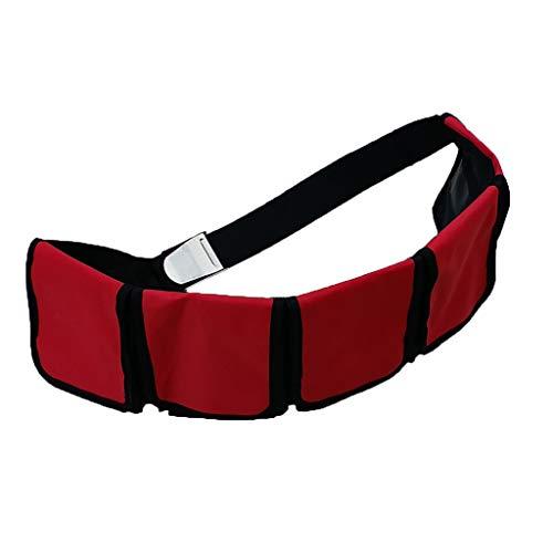 perfeclan 3 4 5 Bolsillos Buceo Equipo de Cinturón de Lastre Desmontable con Hebilla Azul - Rojo y Negro, 3 Bolsillos