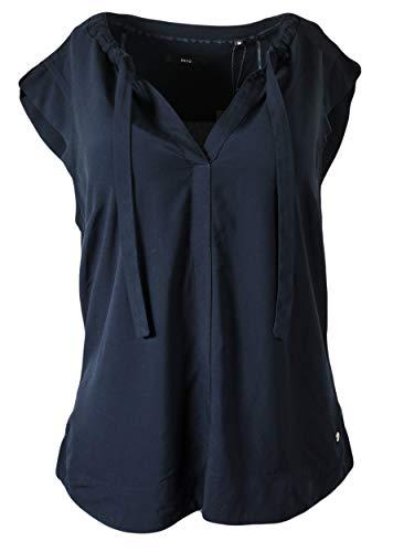 Zero Damen Bluse Shirt mit V- Ausschnitt und kurzen Ärmeln Shirtbluse Top blau gerafft, Größe:40
