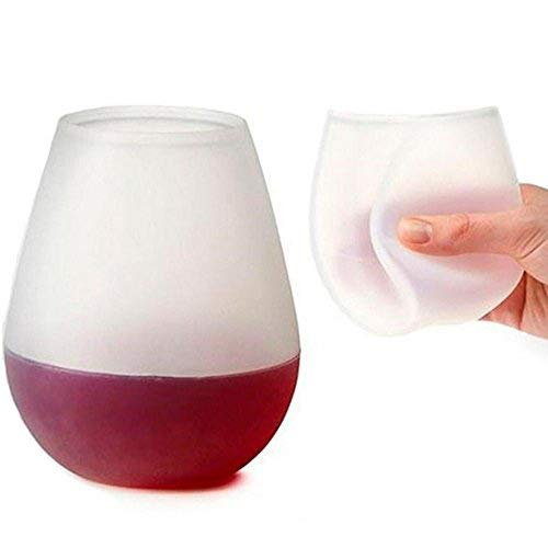 Ungfu Mall 2PCS Silikon Wein Tassen faltbar Bier Gläser unzerbrechliche Brillen Nonslip Stoup Unzerbrechliche zusammenklappbare Weingläser für Party, BBQ, Reisen Camping, Picknick, Beach und Pool