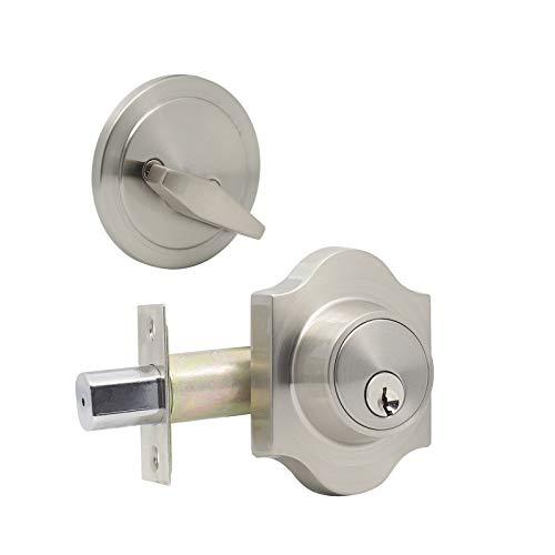 2 unidades – Cerrojo de seguridad vintage con llave de un solo cilindro de entrada seguro Locker acabado níquel satinado sin llave igual, botón de giro interior y llave exterior