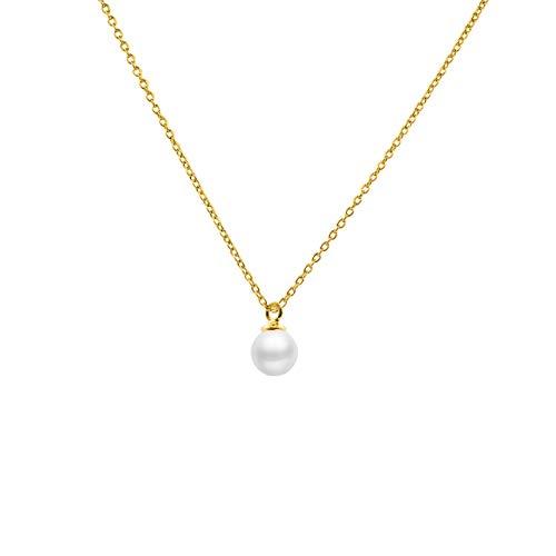 Secret & You Collar de Perla Cultivada Redonda de 5 a 5,5 mm de Agua Dulce - Cadena y Colgante de Plata de Ley de 925 Bañada en Rodio o en Oro de 18k 40 o 45 cm de Largo.