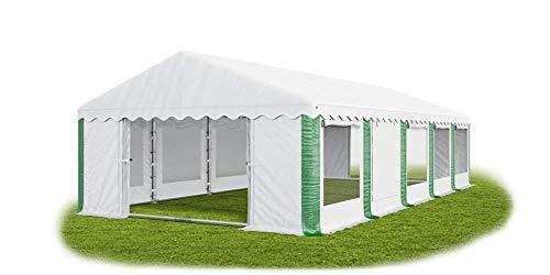 Das Company Partyzelt 5x10m Lagerzelt Universalzelt Pavillon mit Moskitonetz weiß-grün mit Bodenrahmen und Dachverstärkung Pavillon Zelt 240g/m² PE Plane wasserdicht Gartenzelt Summer Plus IPEM