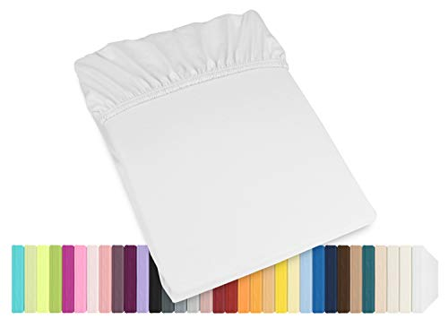 Schlafgut Mako Jersey Spannbetttuch 15001 oder  Kissenbezug 15101 - Baumwolle 406.463, weiß, Spannbetttuch 90-100 x 200 cm
