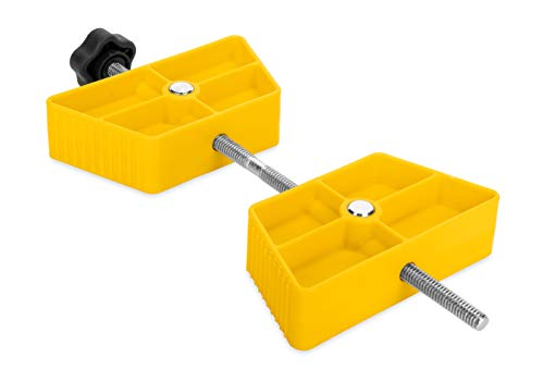 Camco RV Wheel Stop- Stabilizes Your Trailer by Securing Tandem Tires to Prevent Movement While Parked - Large (44622),Yellow