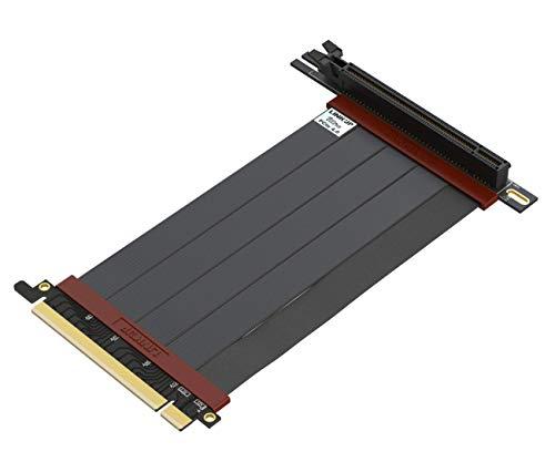 LINKUP - Ultra PCIe 4.0 X16 Riser-Kabel [RTX3090 x570 B550 RX6900XT Getestet] Geschirmte Vertikale Steigleitung Portverlängerungs Gen4┃90 Grad Buchse {15cm} PCI Express 3.0 Gen3 Kompatibel
