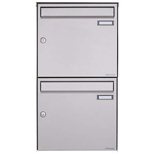 2er Edelstahl Aufputz Briefkastenanlage - 2 fach Wandbriefkasten Design BASIC 382A-VA (Edelstahl V2A, 2 Parteien, senkrecht)